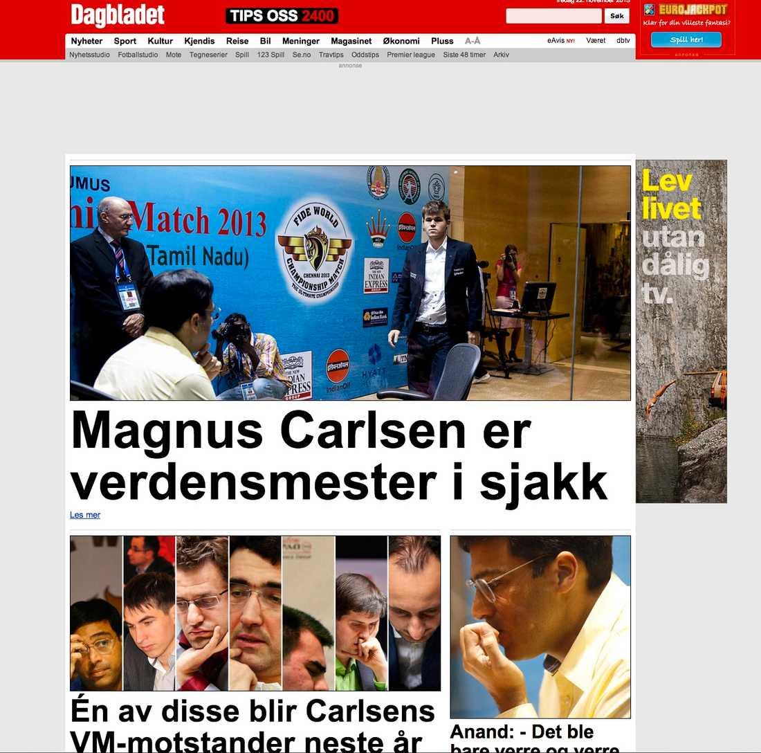Dagbladet hyllar sin världsmästare.