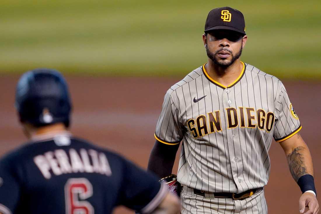 San Diego Padres Tommy Pham vårdas på sjukhus efter att ha blivit knivhuggen i ryggen. Arkivbild.