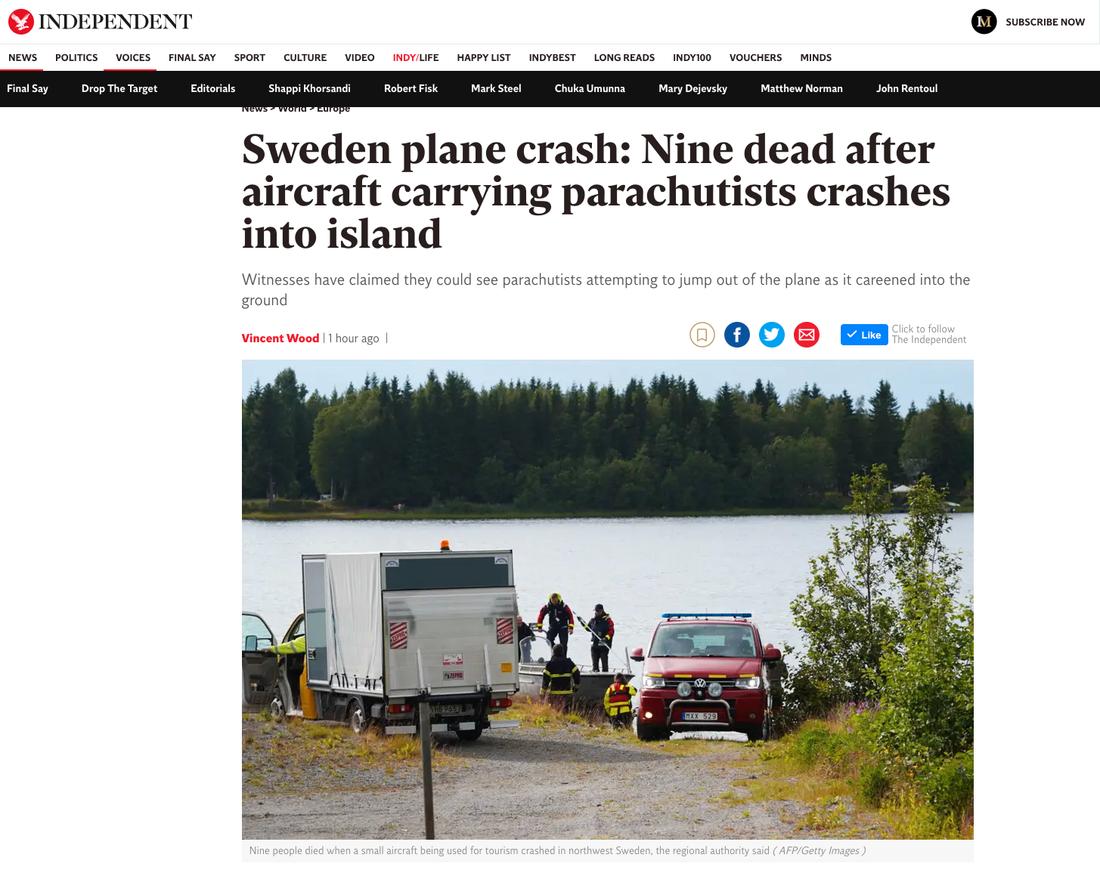 """Brittiska Independent: """"Svensk flygkrasch: Nio döda efter att plan med fallskärmshoppare kraschade ner på ö""""."""