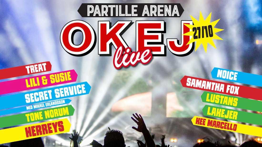 Nostalgigalan Okej Live arrangeras den 27 oktober.