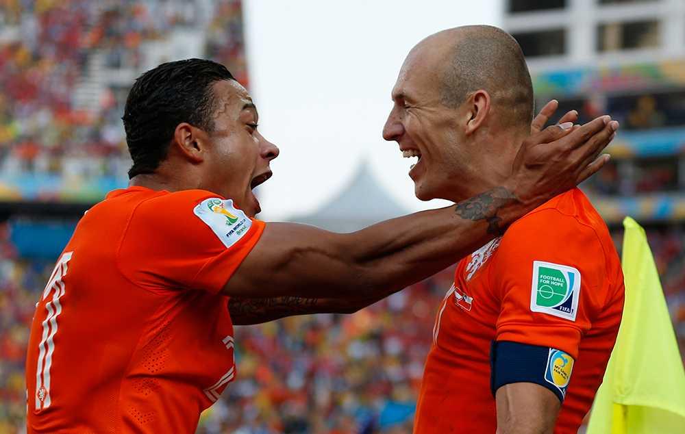 Memphis Depay och Arjen Robben i Holland.