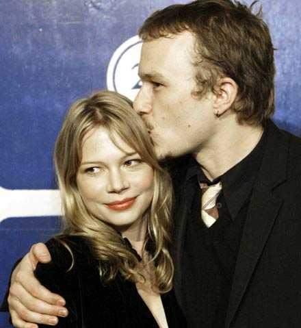 Michelle Williams och Heath Ledger den 30 november 2005.