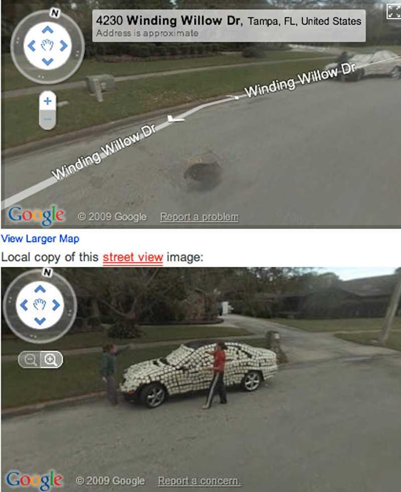 Tampa i Florida i USA – någon har klistrat post–it lappar på en bil. Googlekameran har fångat gärningsmannen.