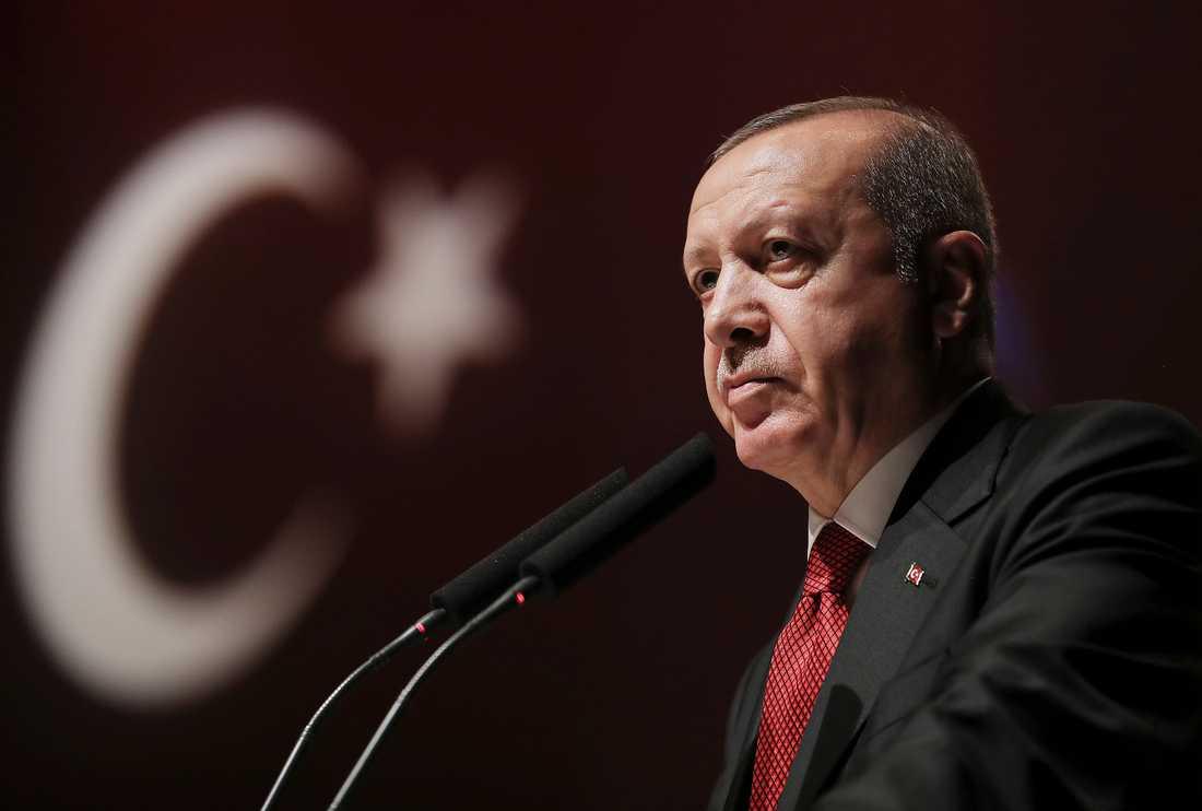 Turkiets president Recep Tayyip Erdogan under ett möte i Istanbul förra veckan. Arkivbild.