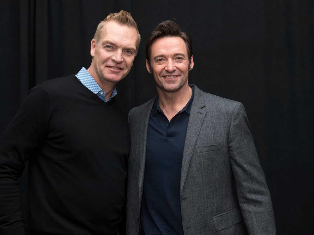 Magnus sundgolm tillsammans med Hugh Jackman.