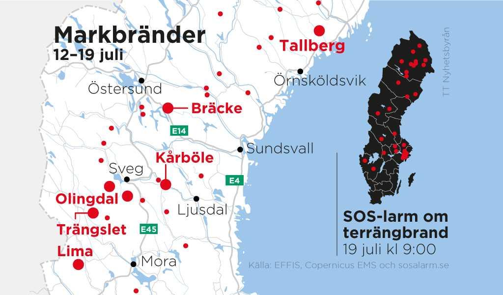 Här brinner det i Sverige.