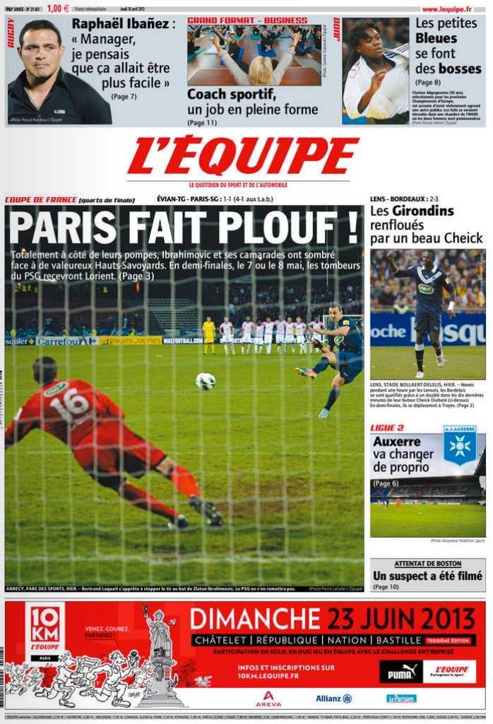 L'Equipe dagen efteråt.
