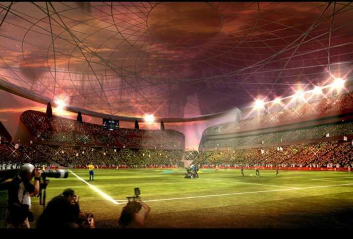 En titt inifrån på finalarenan Lusail Iconic Stadium i staden Al-Daayen.