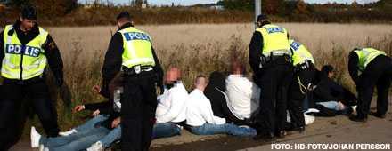 Attackerade polisen När polisen anlände till platsen där huliganer från Helsingborg och Hammarby träffats för att slåss så försökte de köra på polisen. De gripna sitter utspridda på arrester i södra Sverige.