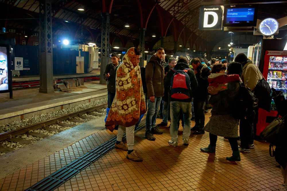 Flyktingar på perrongen i Köpenhamn