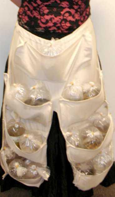 I ett specialtillverkat förkläde under kjolen smugglade kvinnan exotiska fiskar.