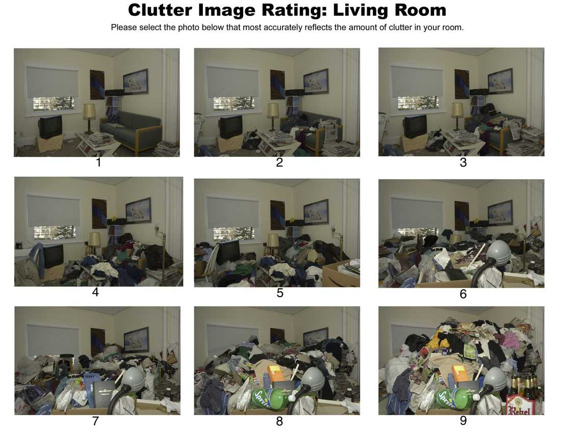 Niogradig skala Bilden visar hur man bedömer om en person har samlarmani eller inte.