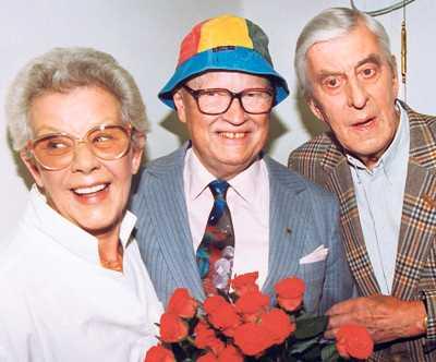 Brita Borg, Povel Ramel och Martin Ljung tillsammans.