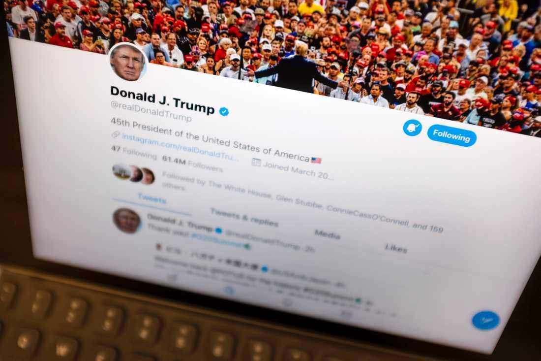 USA:s president Donald Trumps Twittersida. Arkivbild.