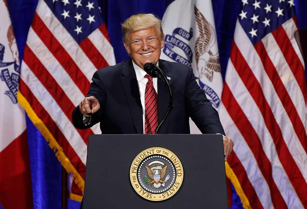 Donald Trump tillbaka i Iowa i juni 2019.