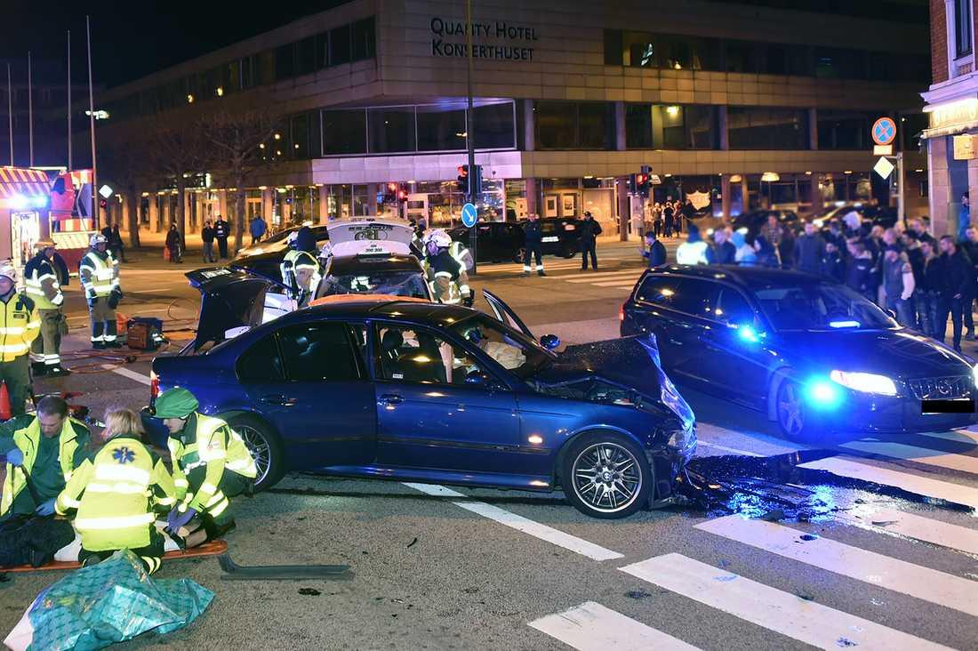Våldsam krock på Amiralsgatan i Malmö.