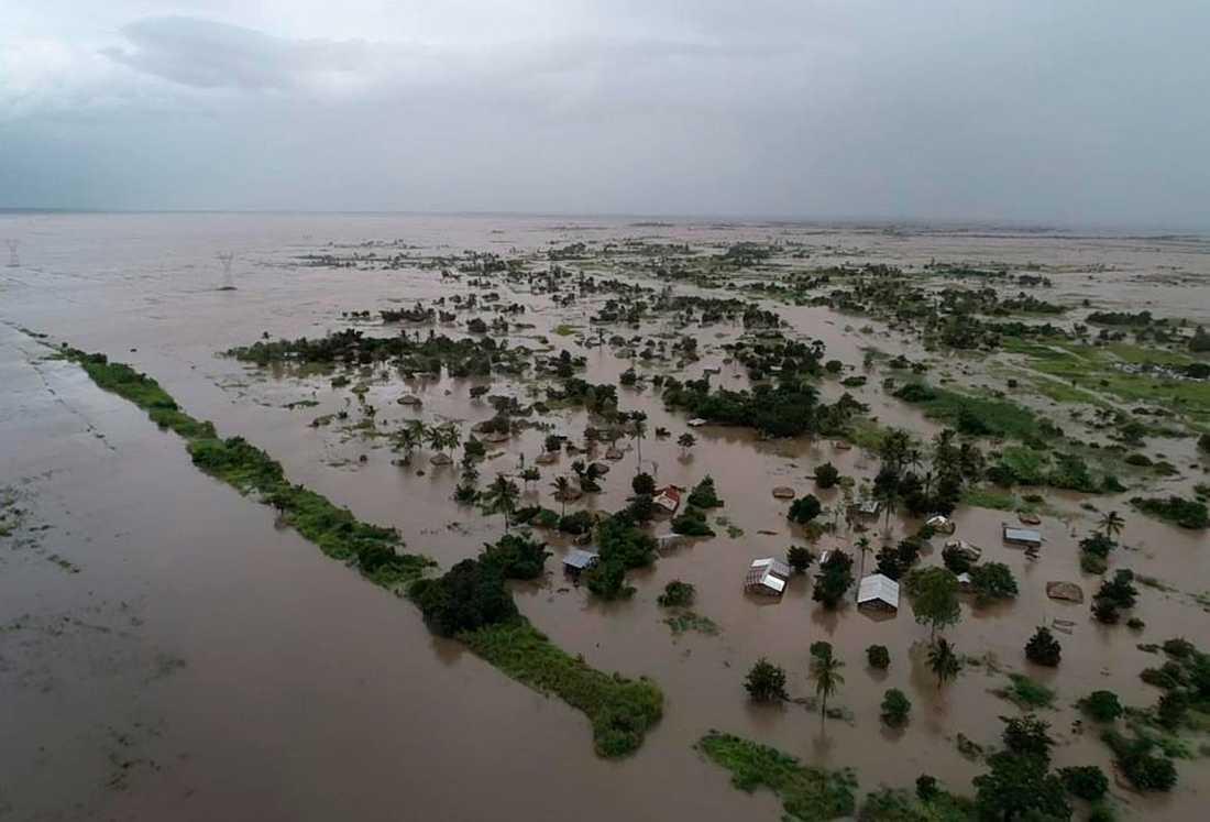 Området Nicoadala i Moçambique är under vatten.
