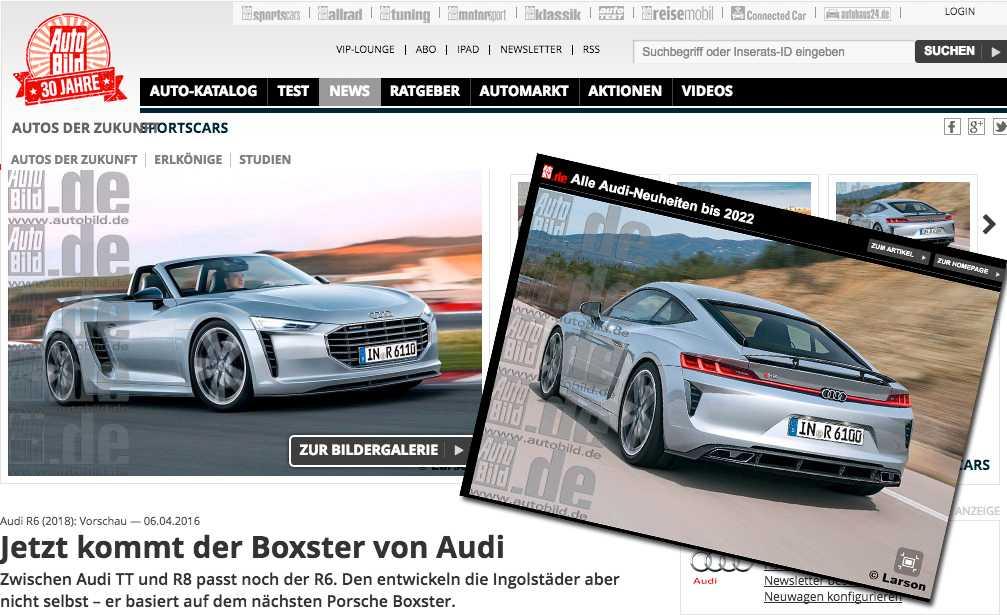 """Så här skulle en Audi R6 kunna se ut. Bilderna är renderingar skapade av designern """"Larson"""""""