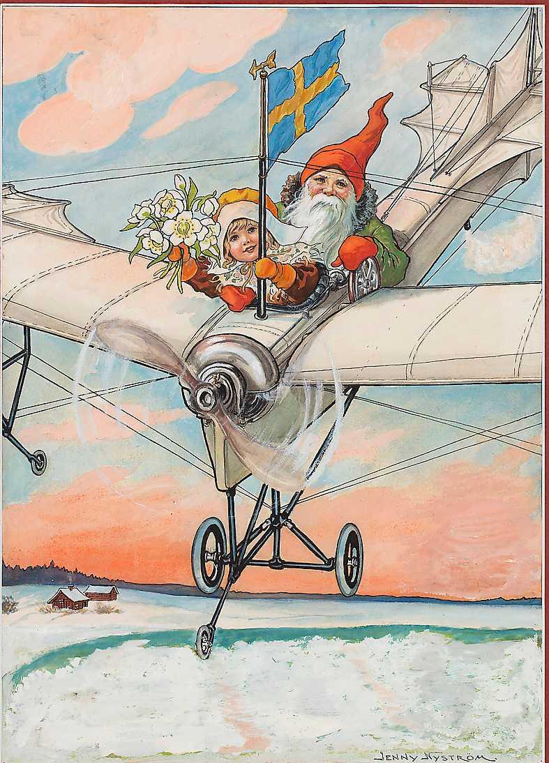 """Flygande tomte"", 1928, akvarell."