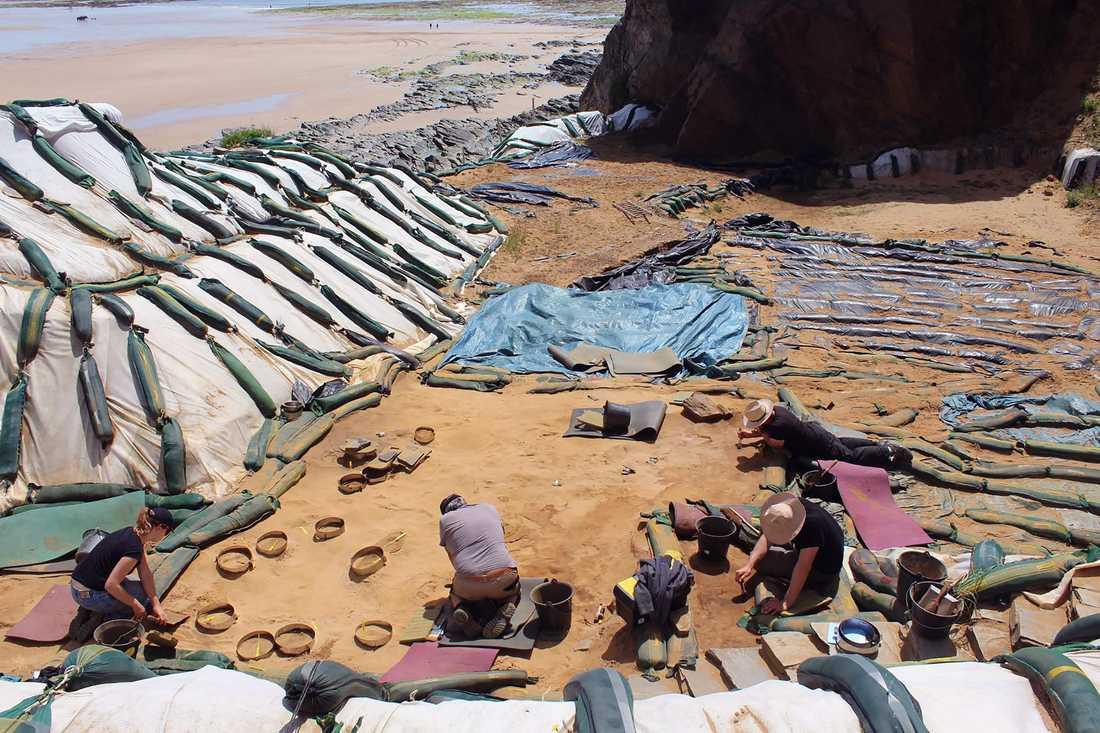 Fotavtrycken hittades ett antal meter ner i sanden på en arkeologisk plats som upptäcktes redan på 1960-talet, men som nu – på grund av hotande erosion – har grävts ut för första gången.
