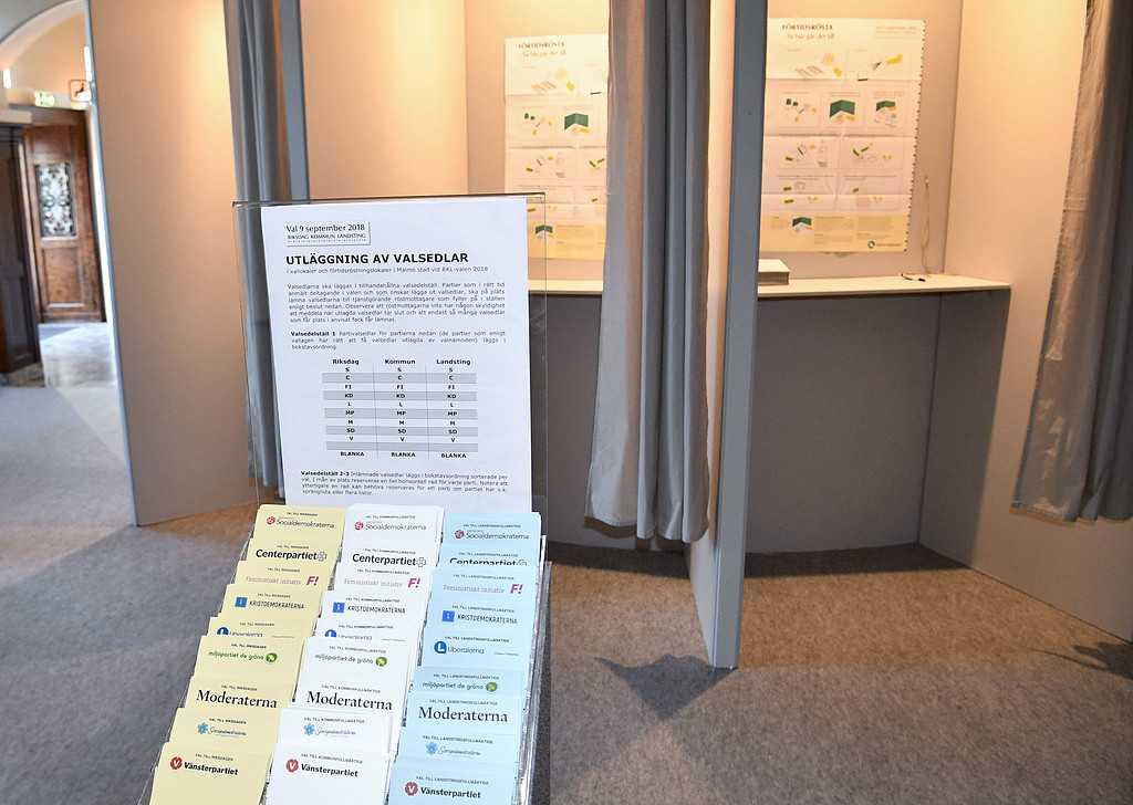 Valsedlar och valbås vid förtidsröstningen på Centralstationen i Malmö på onsdagen.