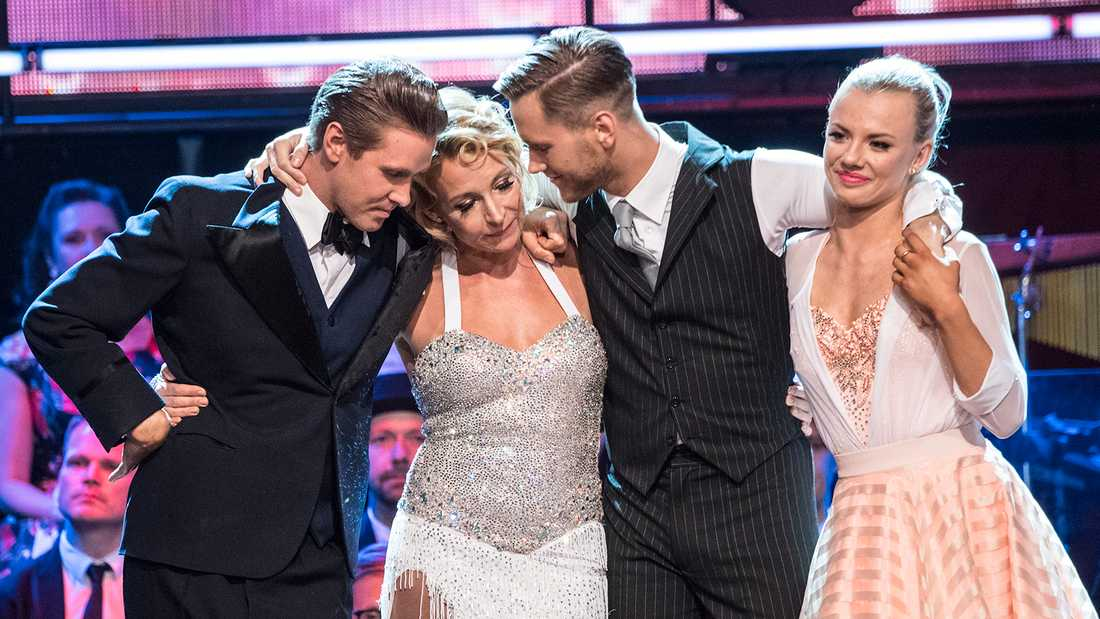 """I """"Let's dance"""" 2018 dansade Martina Haag med Tobias Bader (till vänster) medan Viktor Frisk hade Linn Hegdal (till höger) som danspartner."""