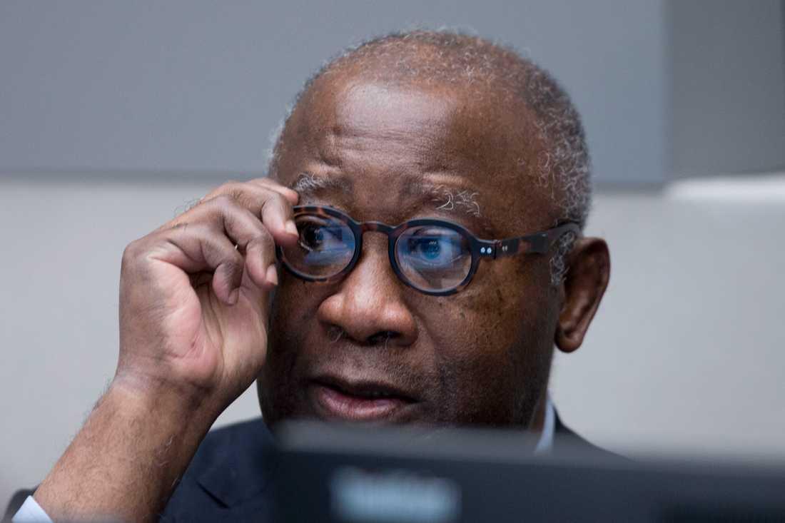Elfenbenskustens ex-president Laurent Gbagbo vid inledningen av rättegången mot honom i Internationella brottmålsdomstolen (ICC) i Haag, januari 2016.