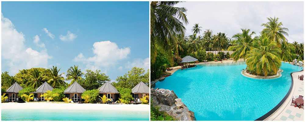 Kuredu Island Resort & Spa är det enda hotellet på Kuredu Island och det tar ungefär 45 minuter att gå runt ön. Sun Island Resort är Maldivernas största resort.