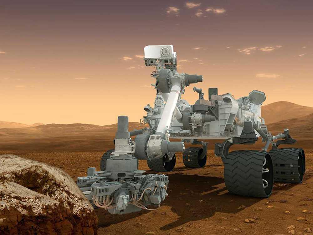 Illustration av Nasas obemannade landfarkost Curiosity.