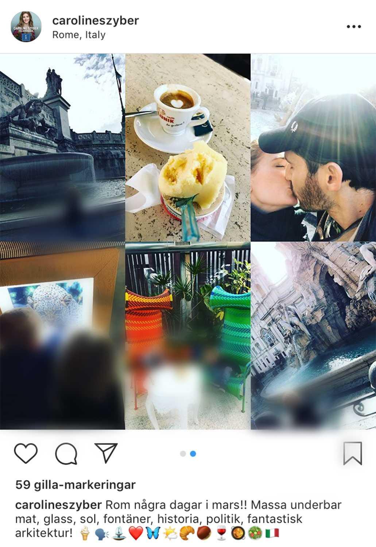 """""""Massa underbar mat, glass, sol, fontäner, historia, politik, fantastisk arkitektur"""", skrev Szyber när hon la upp bilder från Rom på Instagram."""