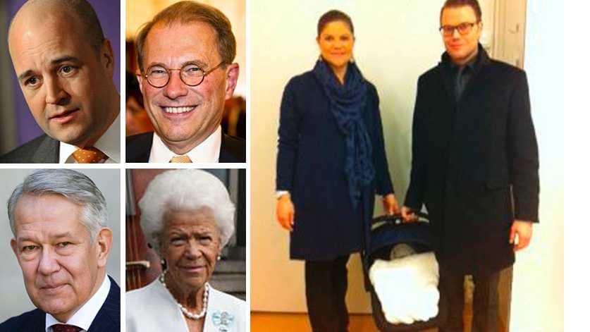 Statsminister Fredrik Reinfeldt, Närvarande är talman Per Westerberg och riksmarskalk Svante Lindqvist och överhovmästarinna Alice Trolle-Wachtmeister ska intyga att tronarvingen inte är en bortbyting.