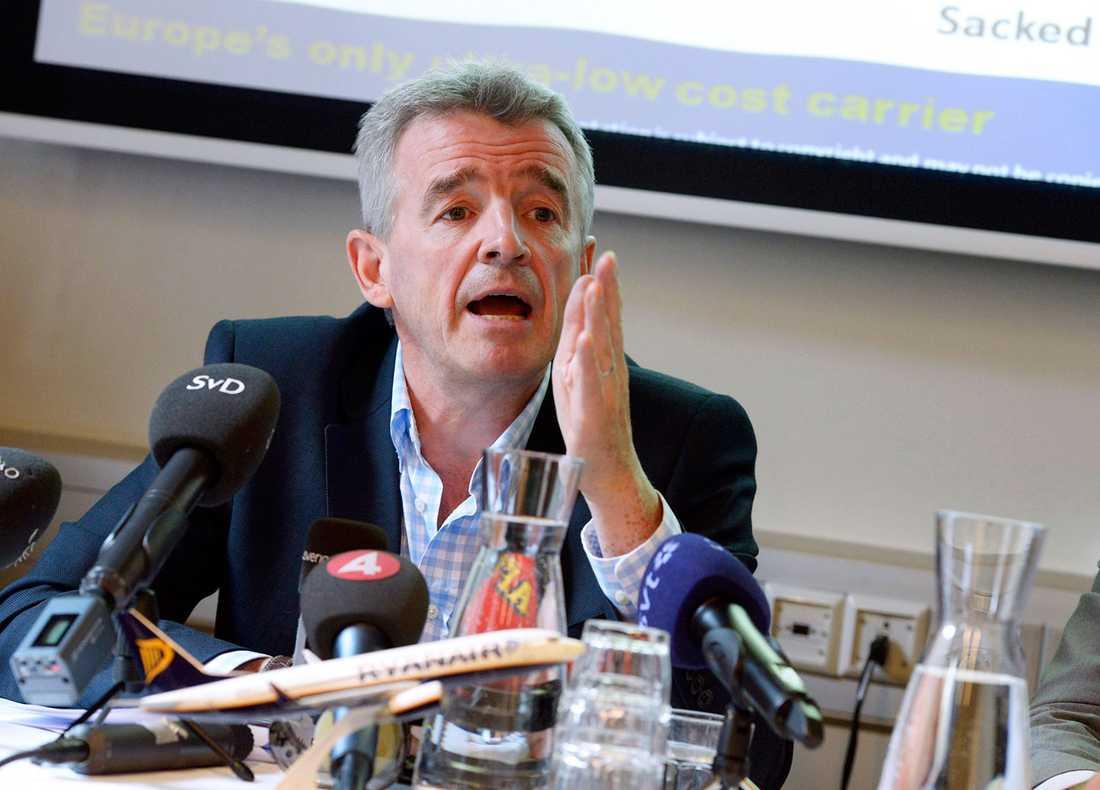 Ryanairs vd Michael O'Leary besökte Stockholm på torsdagen.