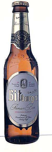 ++++ Bitburger Tyskland Styrka: 4,8 % Pris: 13:40 kr/33 cl Omdöme: Krispigt välmaltad och brödigt humlebesk.