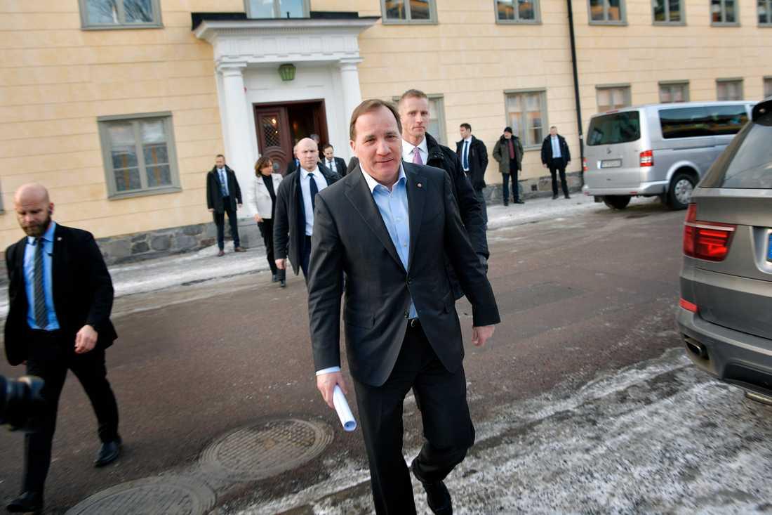 Stefan Löfven var tidigare under dagen i Falun.