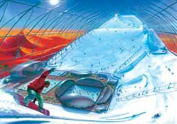 1. Sunny Mountain Ski Dome En skidort inomhus på en yta av 1,4 miljoner kvadratmeter. 6000 ton konstgjord snö ska garantera bra underlag i de konstgjorda berg som också får en egen stad av alpin modell.