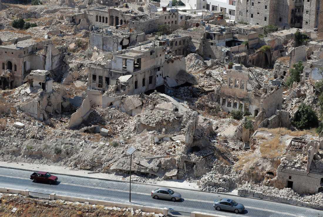 Förstörda byggnader i Aleppo, i en bild tagen i augusti förra året.