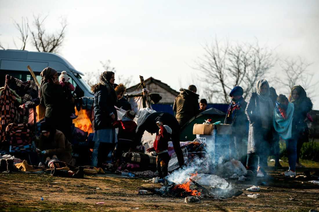 Migranter har samlats på ett fält på den turkiska sidan om gränsfloden Meric (Evros).