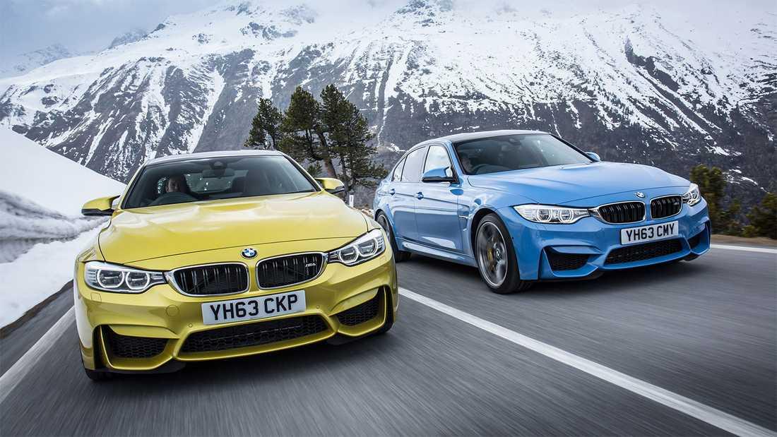 BMW M4(gul)/M3(blå) – modeller som länge satt ribban för hur en supersportig vardagsbil ska vara att köra.