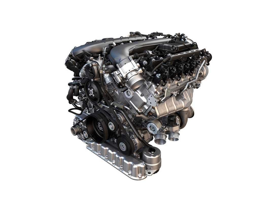 Så här ser nya W12-motorn ut. Blir första versionen som kombinerar turboladdning med direktinsprutning och cylinderavstägning.