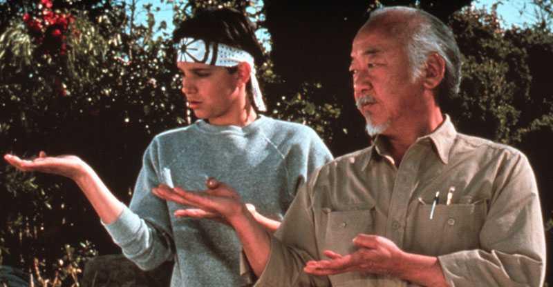 """Ralph Macchio och Pat Morita i """"Karate kid""""."""
