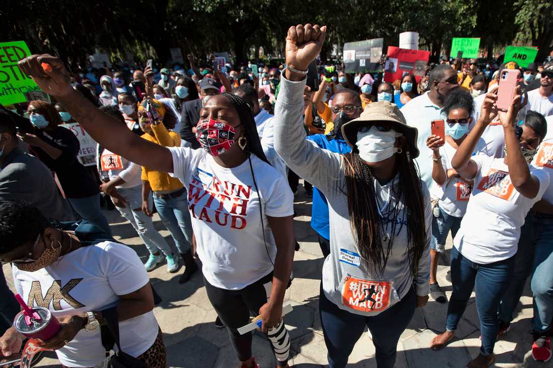 Protester i Brunswick i fredags.