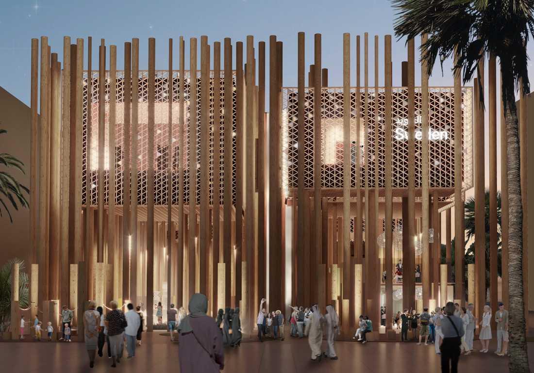 Så här ska den färdigställda svenska paviljongen i Expo 2020-området i Dubai se ut.