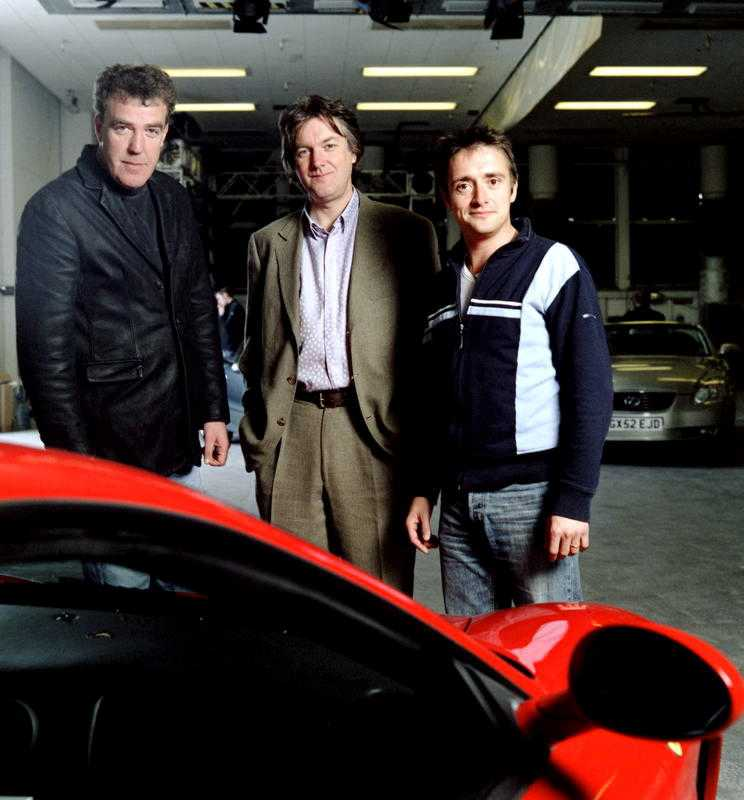 """Clarkson med """"Top gear""""-kollegorna James May och Richard Hammond."""