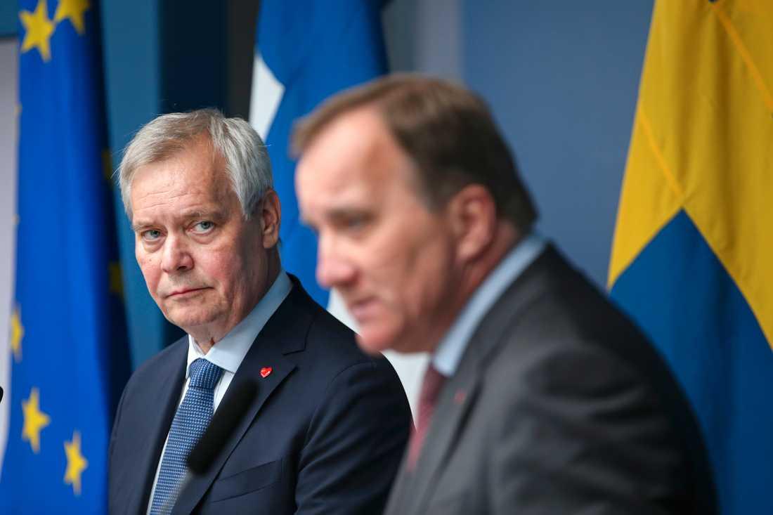 Finlands statsminister Antti Rinne och statsminister Stefan Löfven (S) håller pressträff i samband med möte om bland annat det finsk-svenska försvarssamarbetet.