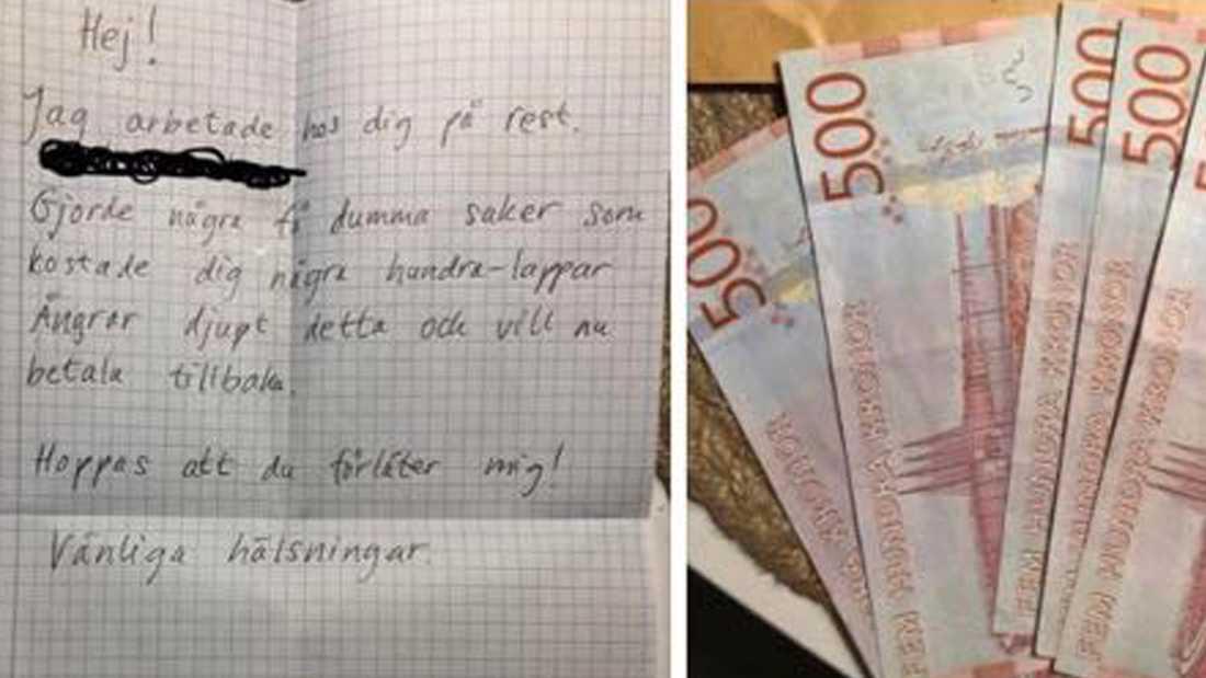 Den anonyma brevskrivaren bad om ursäkt efter 30 år.