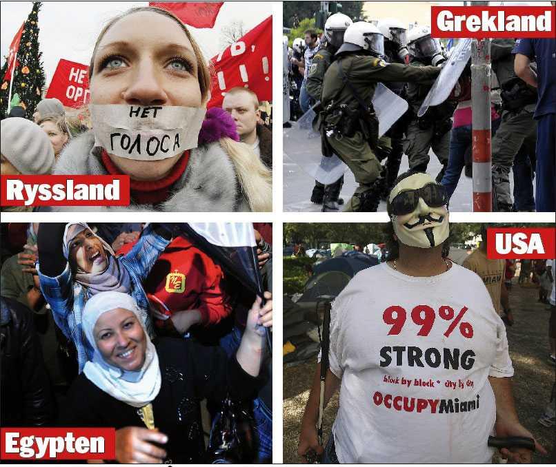 Demonstrationsvåg  Ryssland, Grekland, Egypten och USA är några av de länder där folket protesterat under 2011, mot makten och politiken – för rättvisa och demokrati.