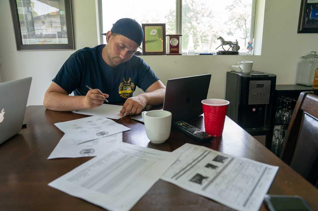 Marcus Melander på sitt kontor i USA