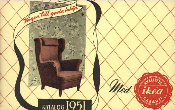Den allra första Ikea-katalogen från 1951. Ikeas grundare Ingvar Kamprad satte själv ihop den första katalogen som trycktes och distribuerades i 285000 exemplar i södra Sverige. Omslaget pryddes av en MK-öronlappsfåtölj.