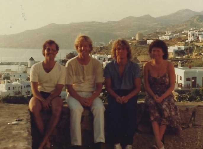 De fyra vännerna, Jim, Ingmar, Bengt och Patti på Grekland 1980.