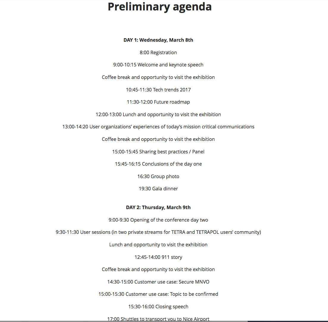 Schemat under konferensen.